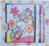 Lg-imports Dagboek Met Pen Vlinder Blauw 19 Cm