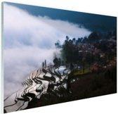 FotoCadeau.nl - Rijstvelden in de mist China Glas 60x40 cm - Foto print op Glas (Plexiglas wanddecoratie)