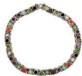 Elastische armband met multi-color steentjes