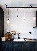 Industriële keukenlamp - Loftdeur Lightbar 170cm incl 5 edison kooldraadlampen