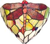 Tiffany wandlamp Dragonfly Green-Red