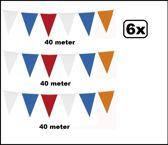 6x Vlaggenlijn Holland  oranje/rood/wit/blauw 40 meter
