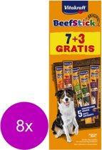 Vitakraft Beefsticks Voordeelverpakking - Hondensnacks - 8 x 10x12 g 7+3 stuks