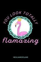 You Look Totally Flamazing Mein Jahresplaner: Flamingo pink Vogel Kalender 6x9 A5: Studienplaner - Terminkalender - W�chentliche To-Do-Liste & Ziele -