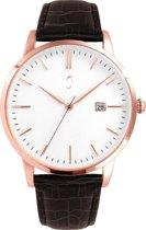 Colori Connaisseur 5 COL481 Horloge - Leren Band met Croco Print - Ø 34 mm - Donkerbruin / Rosékleurig