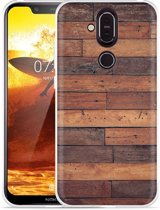 Nokia 8.1 Hoesje Houten planken