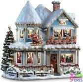 "Diamond Painting ""JobaStores®"" Kersthuis - volledig 50x50cm - rond"