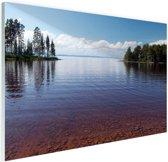 Zicht op het meer in de zomer Glas 180x120 cm - Foto print op Glas (Plexiglas wanddecoratie) XXL / Groot formaat!