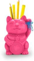 Mustard Desktop Pennenbakje - 14x17.5x11 cm - Lucky Cat - Pink