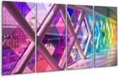 Glasschilderij Modern | Paars, Roze, Geel | 160x80cm 4Luik | Foto print op Glas |  F006033