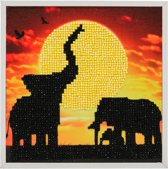 Diamond Painting Crystal Art Kit ® Elephant family 20x20 cm incl. vrijstaand frame, Partial Painting