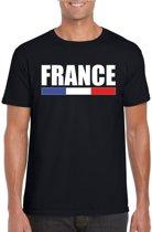 Zwart Frankrijk supporter t-shirt voor heren - Franse vlag shirts S