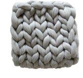 Melange wollen deken - babydekentje - Handgemaakt - Merino wol - 60 x 80 cm - Grijs