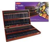 Derwent Studio potloden set in houten kist 72 stuks