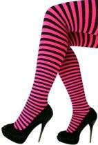 Panty gestreept roze/zwart