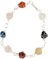 Armband / enkelband - wire wrap - multicolour - edelstenen