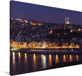 Panorama van Istanbul in de avond Canvas 90x60 cm - Foto print op Canvas schilderij (Wanddecoratie woonkamer / slaapkamer)