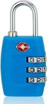 TSA Kofferslot 3 Cijferig - Reisslot – Reis Cijferslot – Cijferhangslot - Hangslot - Hangslotje - Bagageslotjes – Slot voor Bagage – USA Slotjes – Lichtblauw