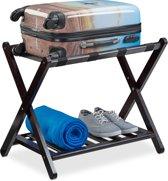 relaxdays kofferstandaard klapbaar - kofferrek van hout - bagagerek voor op reis - bruin