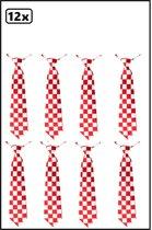12x Stropdas rood-wit geblokt