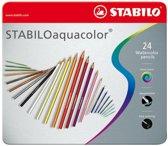 STABILO Aquacolor Kleurpotloden - Metalen Etui 24 stuks