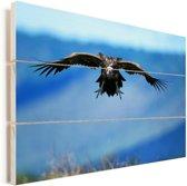 Oorgier met wijd gespreide vleugels Vurenhout met planken 120x80 cm - Foto print op Hout (Wanddecoratie)