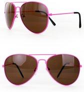 piloten bril - pink frame - per stuk