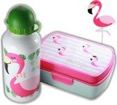 Flamingo broodtrommel + aluminium drinkfles wit   Lunchbox meisje LS10