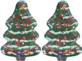 Bellatio Decorations kerst borden/serveerschalen - kerstboom - 30 x 20 cm - 2 stuks