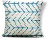 Kussenhoes Indigo Arrows| Kussenhoes Blauw Wit Watercolor met Rits