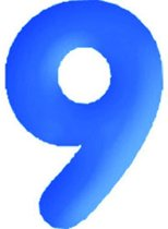 Opblaasbaar Cijfer 9 - Blauw