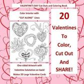 Valentine's Day Cut Out and Coloring Book Color Interior with Cut Along Lines