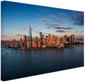 Luchtfoto Skyline New York Canvas 30x20 cm - klein - Foto print op Canvas schilderij (Wanddecoratie woonkamer / slaapkamer) / Steden Canvas Schilderijen