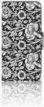 Samsung Galaxy S4 Mini i9190 Uniek Boekhoesje Black Flowers