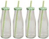 4x Groen/witte glazen drink flesjes met rietje 400 ml