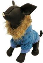 Winterjas voor de hond in de kleur blauw met bont randje - XXS ( rug lengte 17 cm, borst omvang 26 cm, nek omvang 22 cm )
