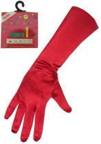 Handschoen satijn rood stretch 40cm
