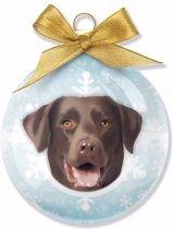 Kerstboom decoratie kerstbal dog Labrador Chocolate 8 cm