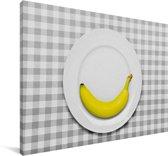 Banaan minimalistisch op een bord Canvas 180x120 cm - Foto print op Canvas schilderij (Wanddecoratie woonkamer / slaapkamer) XXL / Groot formaat!