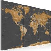 Schilderij - Wereldkaart , Wereld in Bruintinten , 3 luik