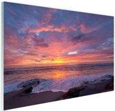 Avondlicht boven de zee Glas 30x20 cm - Foto print op Glas (Plexiglas wanddecoratie)