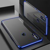 Electroplated Soft TPU Case Cover geschikt voor Huawei P20 Lite - Transparant/Blauw