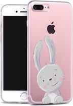 Apple Iphone 7 Plus / 8 Plus Transparant siliconen hoesje (grappig konijntje)