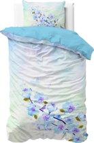 Sleeptime Katoen Sweet Flowers - Dekbedovertrek - Eenpersoons - 140x200/220 + 1 kussensloop 60x70 - Blauw