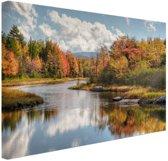 Herfstlandschap  Canvas 80x60 cm - Foto print op Canvas schilderij (Wanddecoratie woonkamer / slaapkamer)