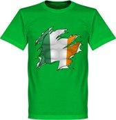 Ierland Ripped Flag T-Shirt - Groen - XS