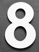 Xaptovi Huisnummer 8 Materiaal: RVS - Hoogte: 25cm - Kleur: Wit