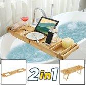 2-in-1 verstelbaar bamboe badrekje / ontbijt op bed dienblad - Voor bed en bad – 75 tot 110,5 cm lang – Badplank / badbrug geschikt voor telefoon, tablet, boek – Bad tafeltje van hout met pootjes - Decopatent®