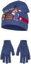 Blauwe Its Mario winterset voor kinderen 52 cm - Super Mario Muts en Handschoenen
