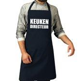 Keuken directeur barbeque schort / keukenschort navy blauw voor heren - bbq schorten
